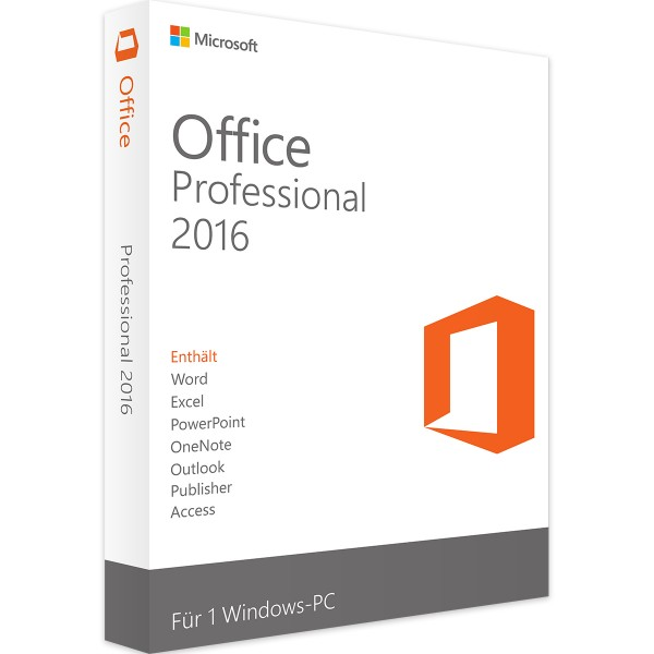 Microsoft Office 2016 Professional - Windows - Vollversion